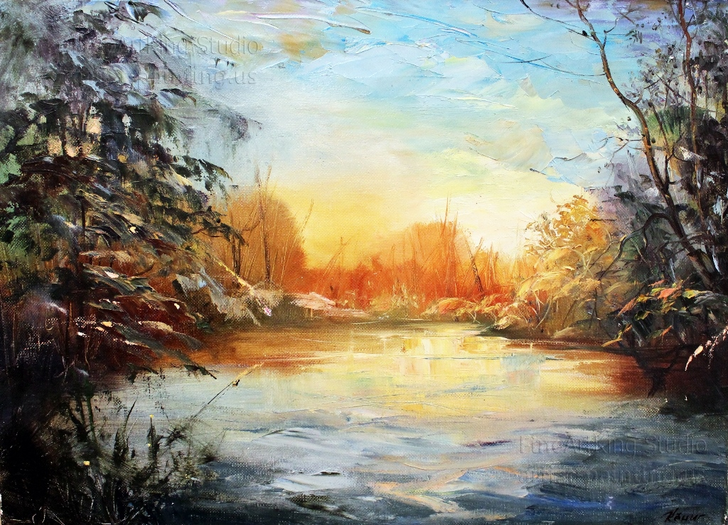 Winter forest lake - Original