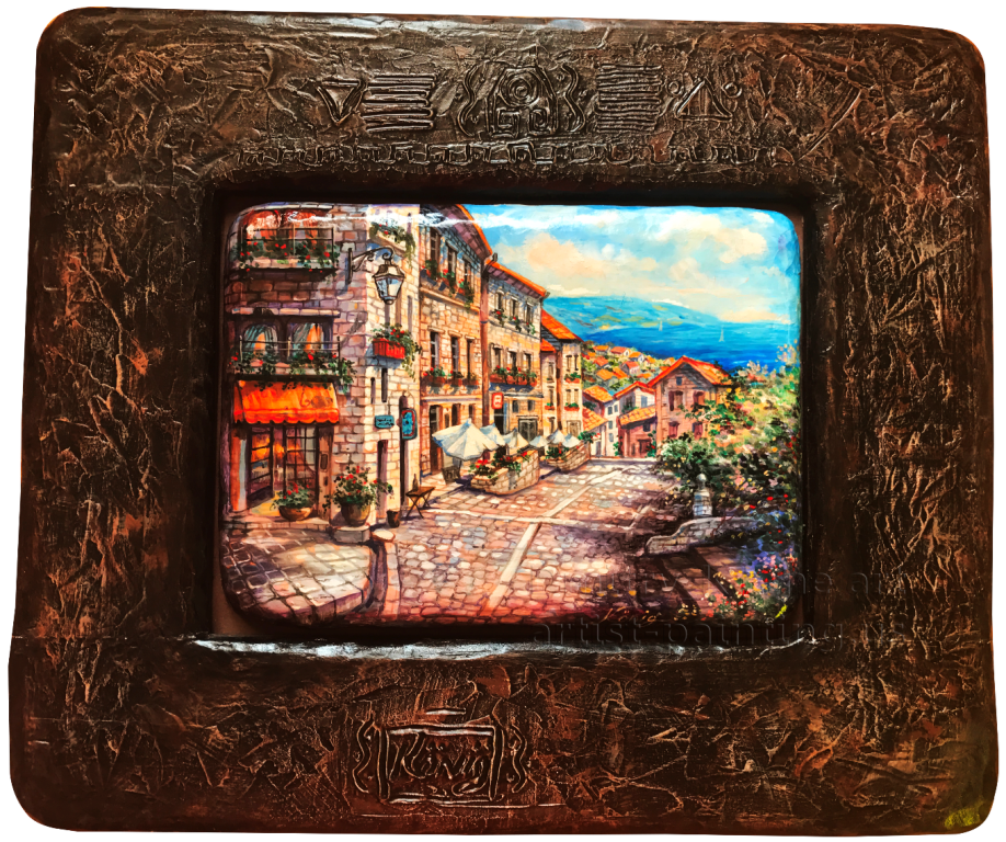 Original cityscape in a small wood wall decor