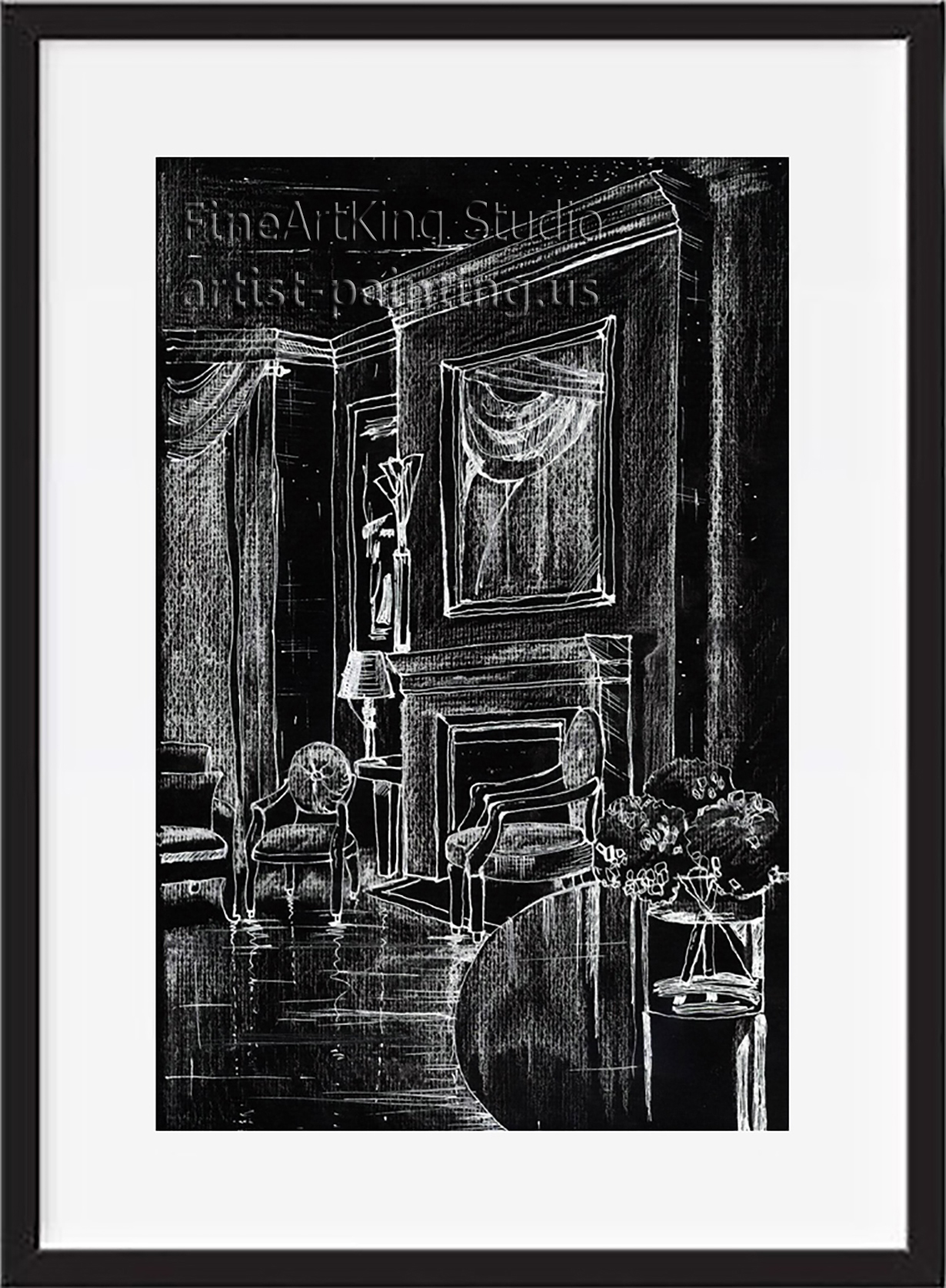Art Deco interior with fireplace - Giclee print