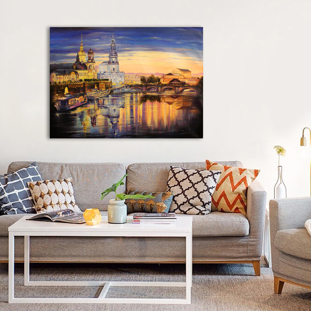 The evening lights of the city - Giclee print