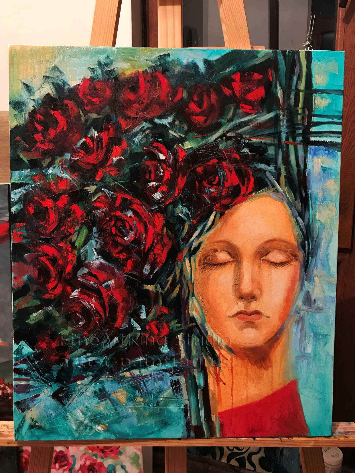 Lady with Roses (50x60cm) Original