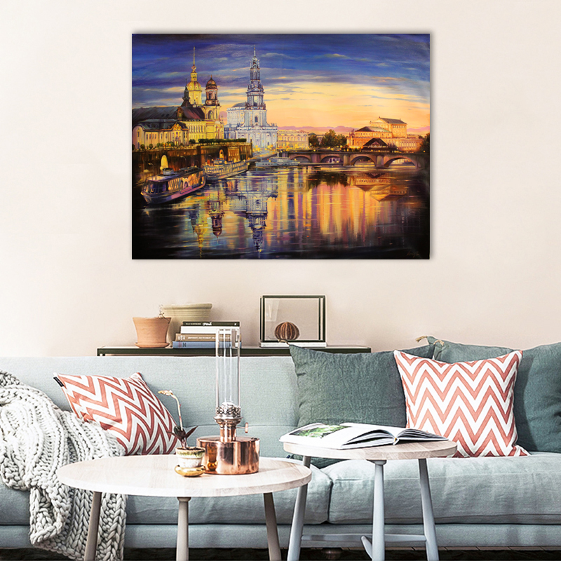 The evening lights of the city - Art print on canvas