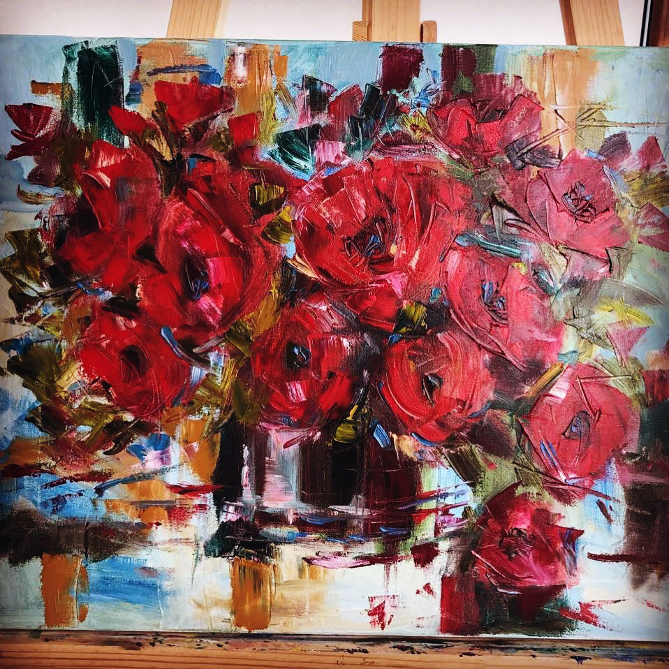 Red Flowers (50x40cm) Original