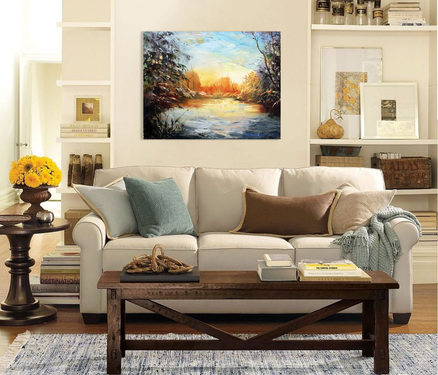 Winter forest lake - Art print on canvas